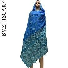 Мусульманский шарф африканская Женская шаль шали высокого качества тяжелый хлопок матч шарф из тюли мусульманский шарф больших размеров для пашмины BM706