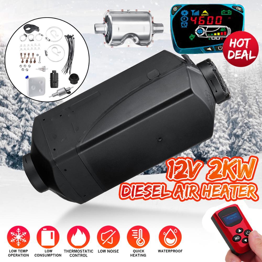 Car Heater 12V 2KW For Webasto Diesels Heater LCD Monitor Car Heater Silencer For RV Car Truck Motor Home Boat Bus Motorhome