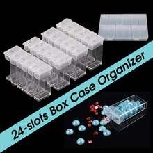 24 Сетки DIY пластиковая коробка Настольный органайзер чехол ювелирный макияж Настольный Алмазная картина коробка для хранения прозрачный контейнер