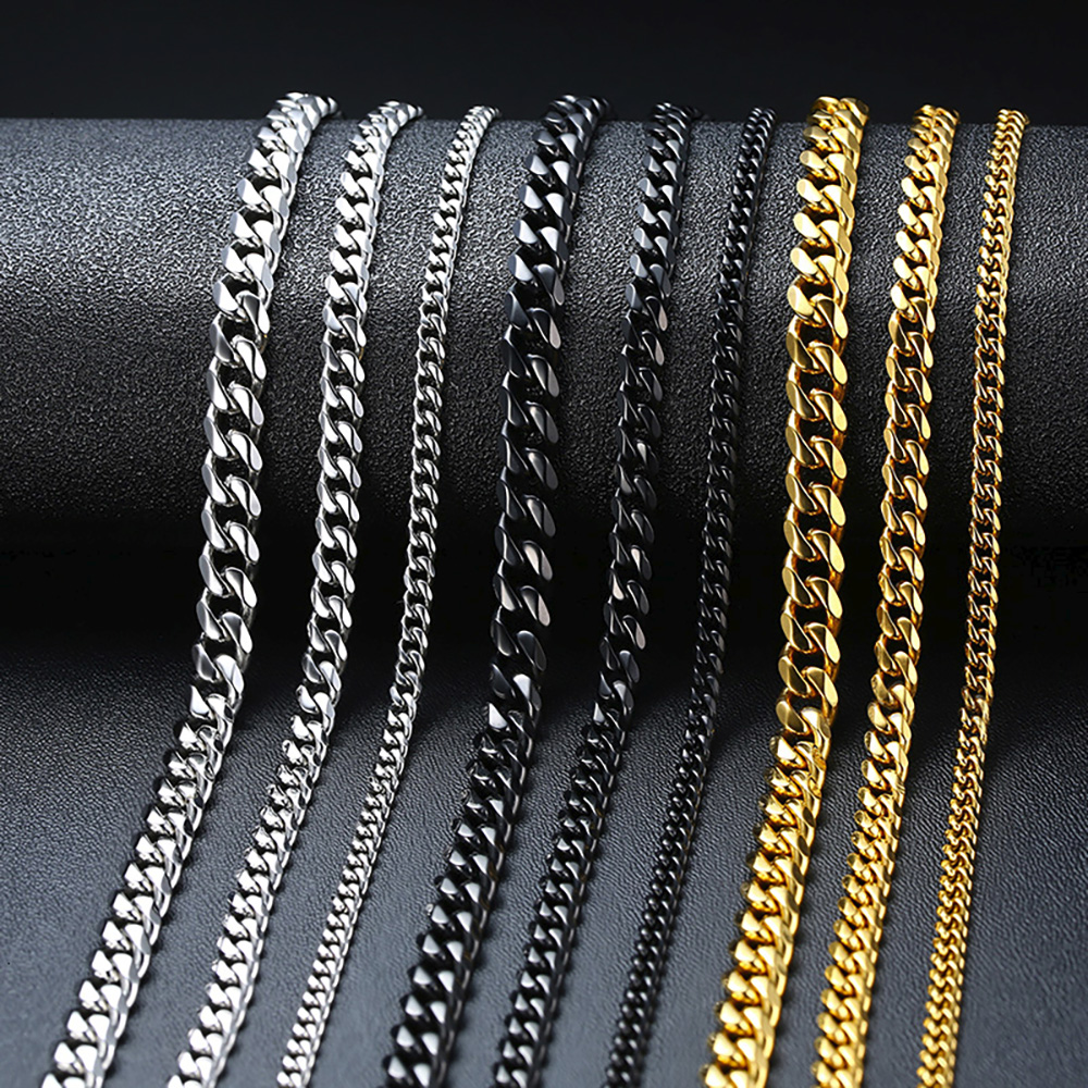 New Arrival Punk Stainless Steel Jewelry Necklace for Men Women Multi Size Curb Cuban Link Chain Chokers Wholesale Drop Shipping(China)