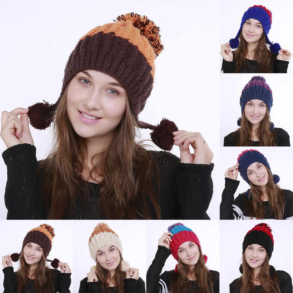 Novos Chapéus de Inverno Moda Para Mulheres Skullies Gorros de Malha Bloco de Cor de Lã Inverno Quente Hat Ski Cap Crochet Cap Pom