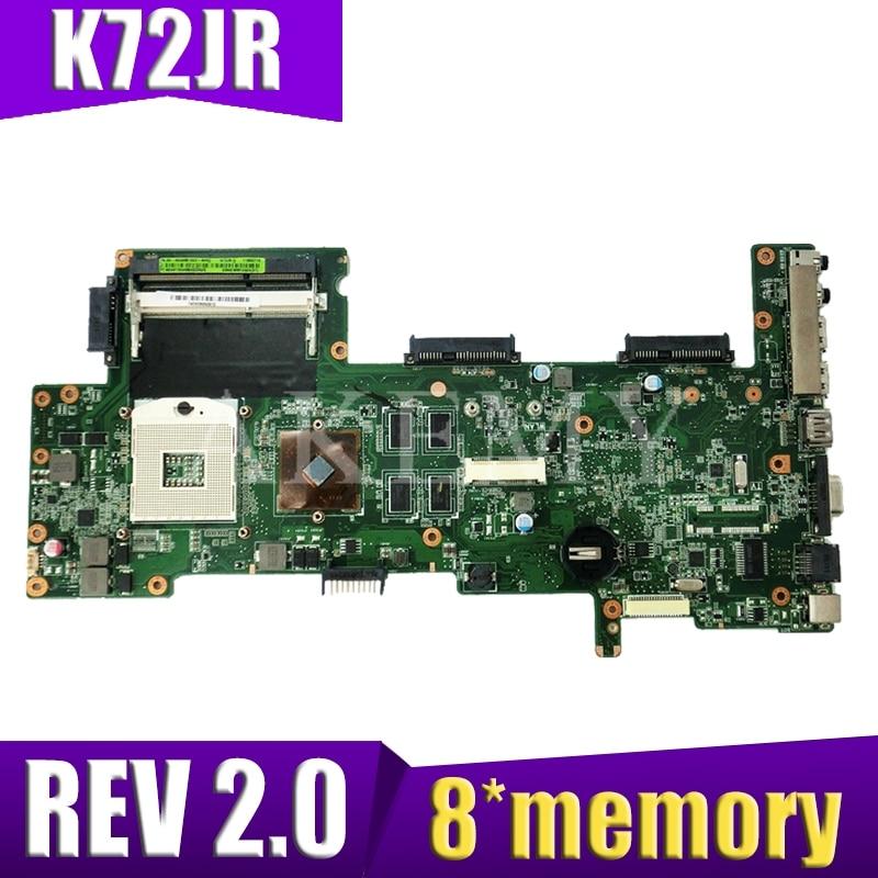 K72JR Motherboard For Asus K72JT K72JK K72JU K72J X72J Laptop Motherboard REV 2.0 8 Memory PM Test Work 100%