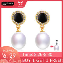 Real Natural Pearl Jewelry Earrings,Elegant 925 Sterling Silver Women Drop Zircon Earring,High Luster Pearl Gold Color,Gift Box(China)