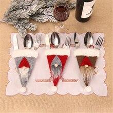 Christmas Decorations 1 PC Cutlery Bag  Knife Fork Table Supplies Dinner Cloths