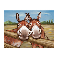 Vintage Farm Animal Canvas Wall Art Funny Two Donkeys Picture Painting on Canvas Stretched and Framed For Bedroom Kids Room
