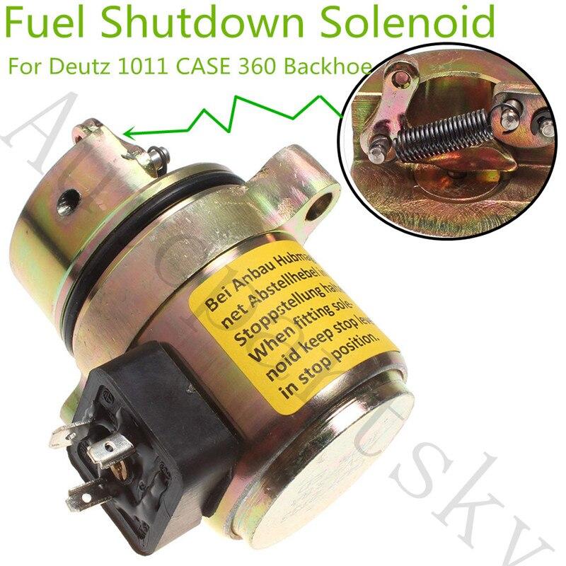 Fuel Shutoff Solenoid Valve 04170534R 04272733 for Deutz 1011 Motor Case Backhoe