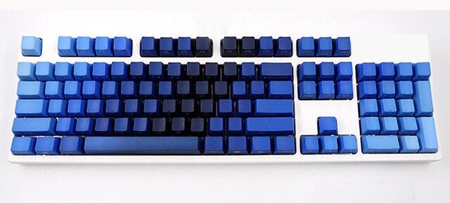 青、緑の色勾配キーキャップpbt 104 108 標準ansi oemプロファイルサイドプリントチェリーmxスイッチメカニカルキーボード