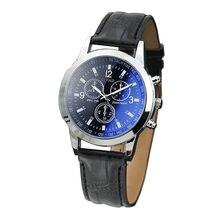 Novo relógio de quartzo masculino blu ray vidro relógio de quartzo neutro simula o relógio de pulso masculino