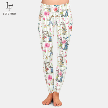 LETSFIND New Arrival Cute Bunny Dprinting Women Comfortable And Soft Pants High Waist Plus Size Fitness Elastic Slim Leggings