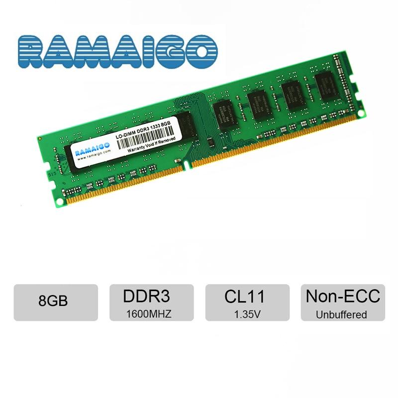 RAMAIGO DDR3 8GB 4GB 16GB DDR3L PC ram de bureau Module de mémoire d'ordinateur 1600Mhz 1333MHz 240pin 1.35V 1.5V Non ECC UDIMM Non tamponné