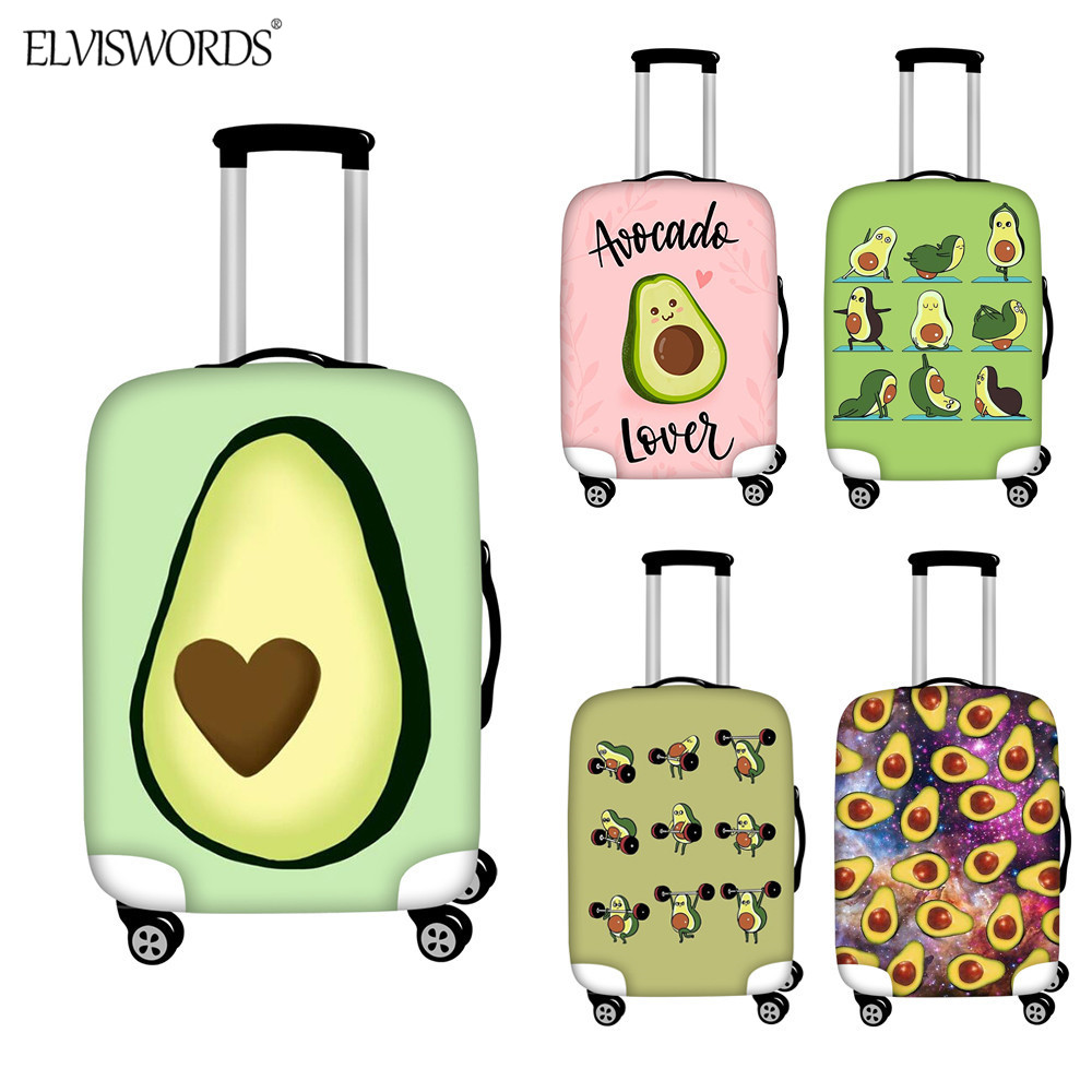 ELVISWORDS Cute Avocado Luggage Cover Elastic Waterproof Zipper Travel Accessories Suitcase Protector Apply To 18-32 Inch