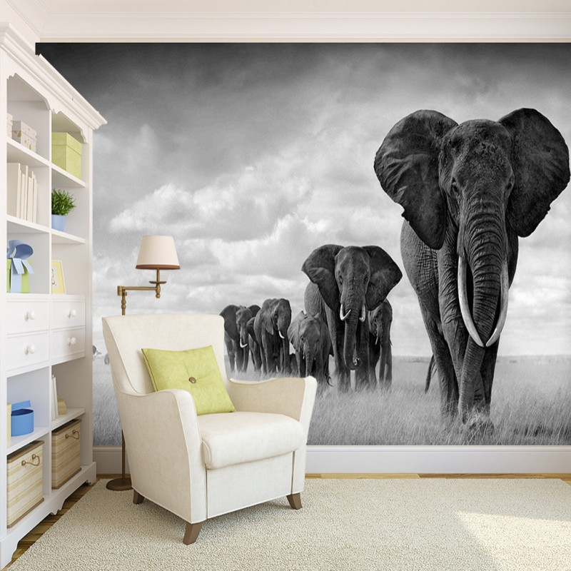 Dropship Custom Retro Black White Mural Painting High Quality Walking Elephant Wallpapers Living Room TV Background Wallpaper