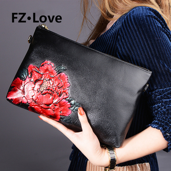 Evening Bags Clutch Purse for Women Flower Cowhide Leather Floral Handbag for Wedding Zip Message Bags Ladies Purse Wallet Bags
