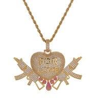 LK 3D Heart Drop and Gun Love Pendant Necklace Gold AAA Zircon Zircon Copper Men's Hip Hop Jewellery Iced Gift Chain