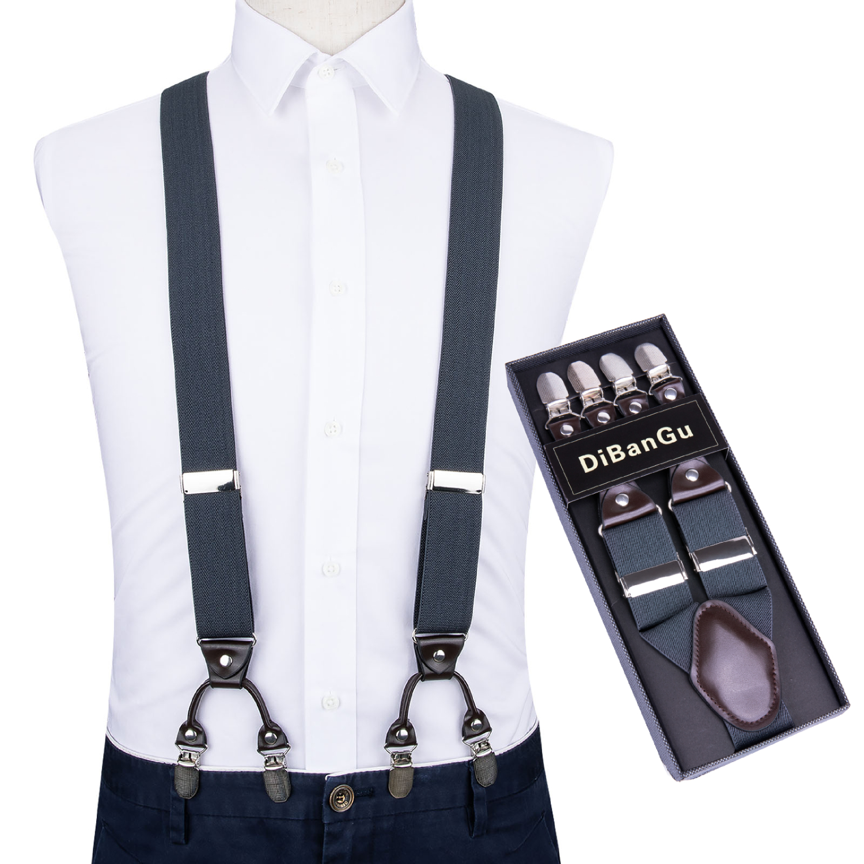Men Navy Elastic Suspender Genuine Leather 6 Clips Brace Male Vintage Casual Wedding Party Trousers Fashion Suspenders DiBanGu