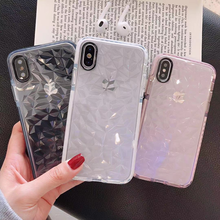 Transparent Diamond Pattern Soft TPU Case For iPhone 11 Pro Max 2019 X XR XS MAX 7 8 6 6s Plus Case Silicone Clear Back Cover
