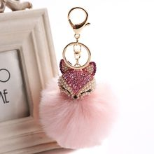 Sequin Fox Animal Keychains For Girls Boy Fluffy Fake Animal Fur Ball Pompon Key Chain Charm Women Bag Key Ring Girlfriend Gift(China)