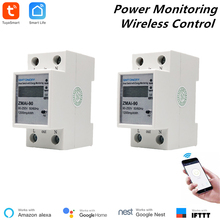 2 Pcs Alexa Compatible Tuya Power Meter WiFi Consumption Switch Energy Monitoring 110V/220V Din Rail Remote Control