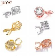 Juya feito à mão jóias achados componentes rosa ouro zircônia encantos bail conector bale pitada fecho pingente fazer colar