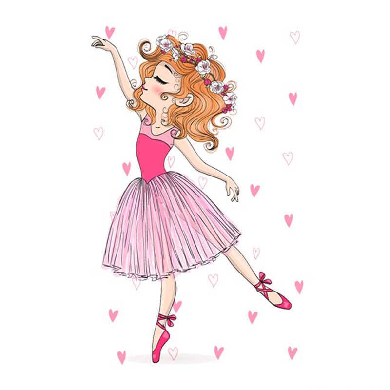 Prajna Dança Menina de Transferência Térmica Para Camisa Roupas Beleza Bailarina Adesivos de Vinil de Transferência de Calor Para O Vestuário Decoração