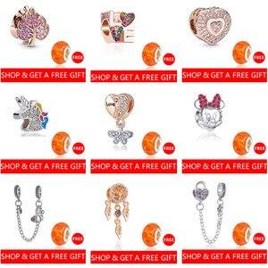 Cristal hibou fleur coeur licorne étoile pendentifs perles ajustement Pandora breloques Bracelets pour femme bricolage Bracelets acheter un obtenir un gratuit