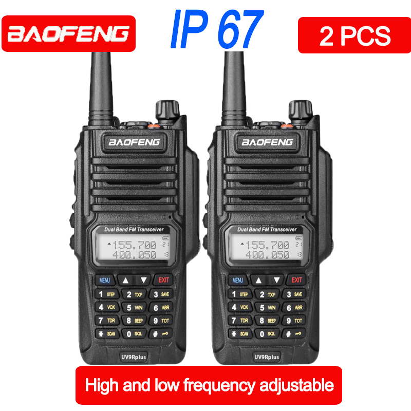 2pcs Baofeng BF-UV 9R Plus Waterproof Walkie Talkie VHF UHF Dual Band Handheld Two Way Radio Portable Radio Walkie-talkie 27 MHz