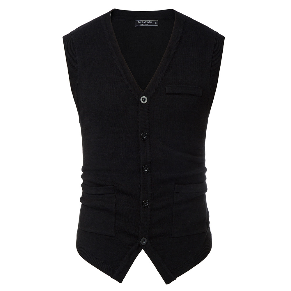 Spring Men's Knitted Sweater Vest Warm Solid Color Knitwear Sleeveless V-Neck Handkerchief Hem Stylish Fashion Slim Tops