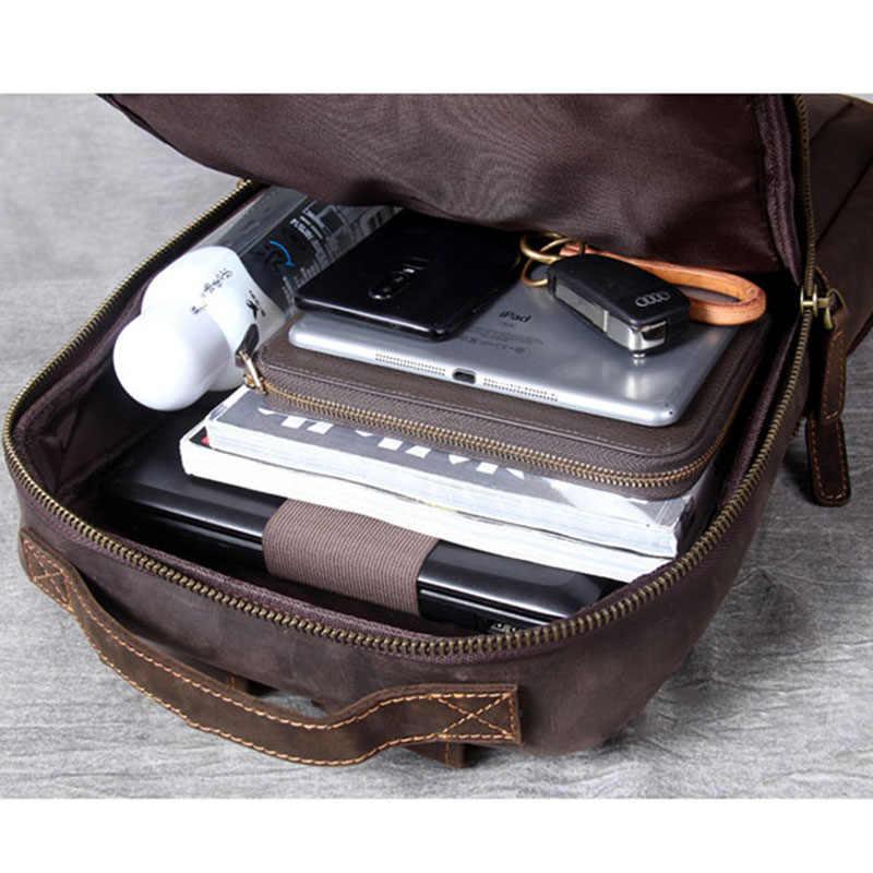 Aetoo Vintage Gila Kuda Kulit Tas Bahu Tangan Kepala Kulit Tas Ransel Kulit Pria Tas Komputer