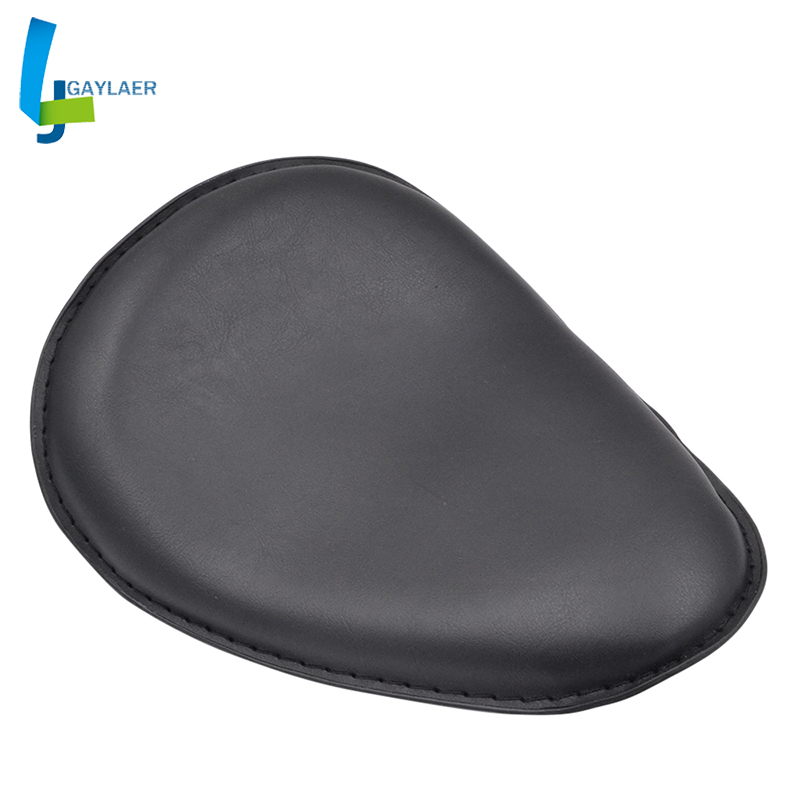 Moto Motorcycle Black Leather Slim Seat Large Copper Solo Seat Mount For Harley Sportster Bobber Chopper