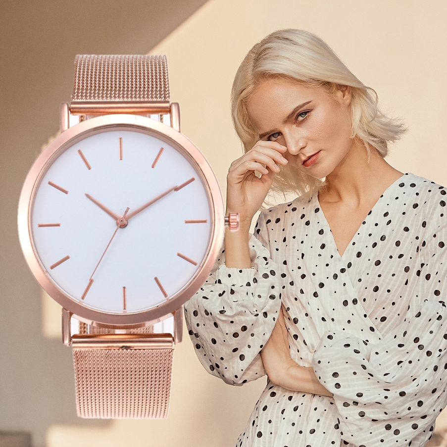 Luxury Simple Design Ladies Watch Casual Watches Stainless Steel Quartz Analog Watch Gift Rose Gold Women Watches Top Brand