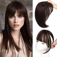 Vigorous dark brown/black synthetic hair fringe clip bangs in