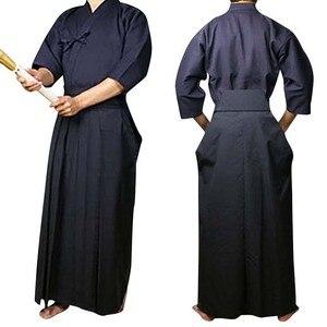 Japoński męski Kimono Hakama strój Sakurai kostium Aikido Judo Kendo garnitur Wushu sztuki walki jednolite Halloween przebranie