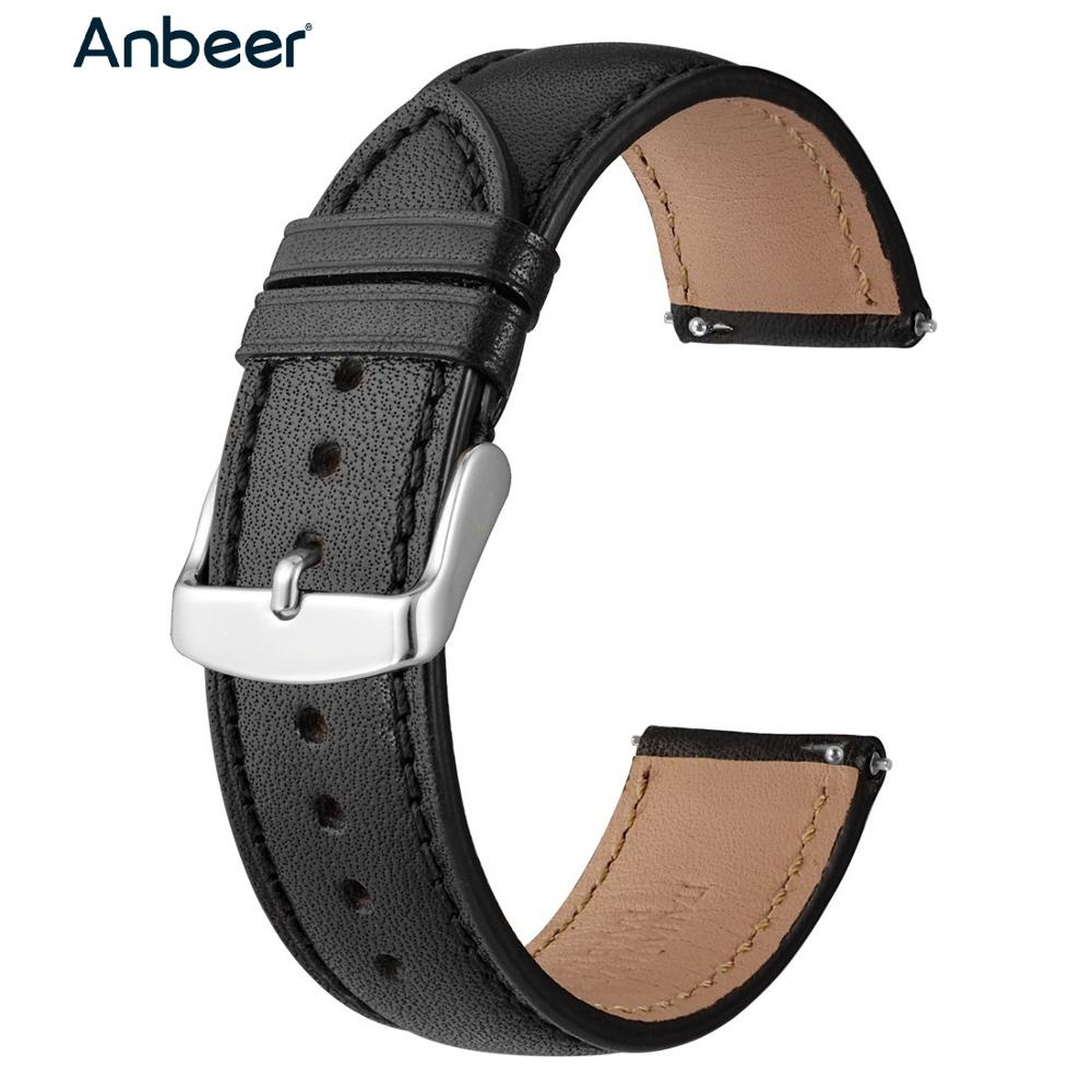 Anbeer Leather Watchband 18mm 20mm 22mm Full Grain Quick Release Watch Strap Band, Men Women Elegant Replacement Bracelet Belt
