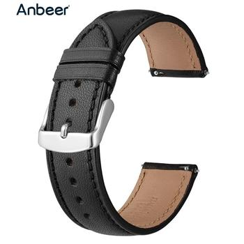 Anbeer Leather Watchband 18mm 20mm 22mm Full Grain Quick Release Watch Strap Band, Men Women Elegant Replacement Bracelet Belt 18mm 20mm 22mm genuine alligator leather watchband for tissot luminox hamilton seiko citizen quick release strap watch band belt