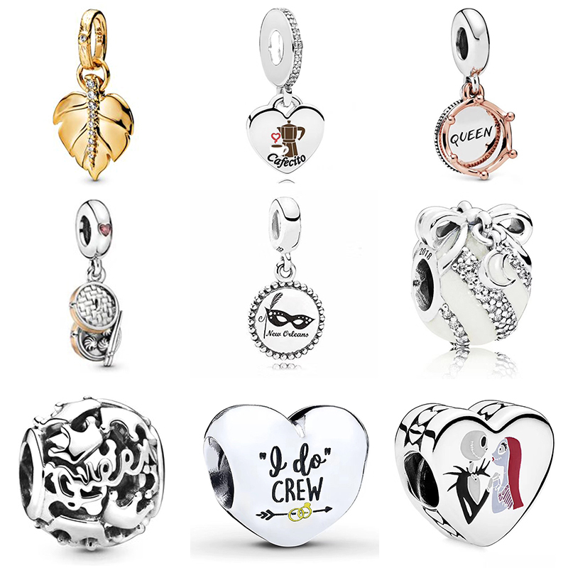 2019 NEW 100% 925 Sterling Silver Shine Shining Leaf Pendant Rose Gold Regal Queen Crown Hanging Charm Fit DIY Jewelry Set Gift