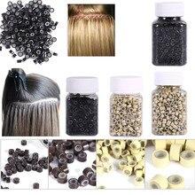 Микро кольца 4*3 мм 200/500 шт потребительских упаковок для микро Обжимные бусины, волосы на микро-капсуле силиконовые кольца/ссылки/бусины для наращивания волос 3 цвета