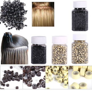 Micro Rings 4*3MM 200/500Pcs Micro Crimp Beads Micro Bead Hair Silicone Ring/Links/Beads For Hair Extensions 3 Colors(China)