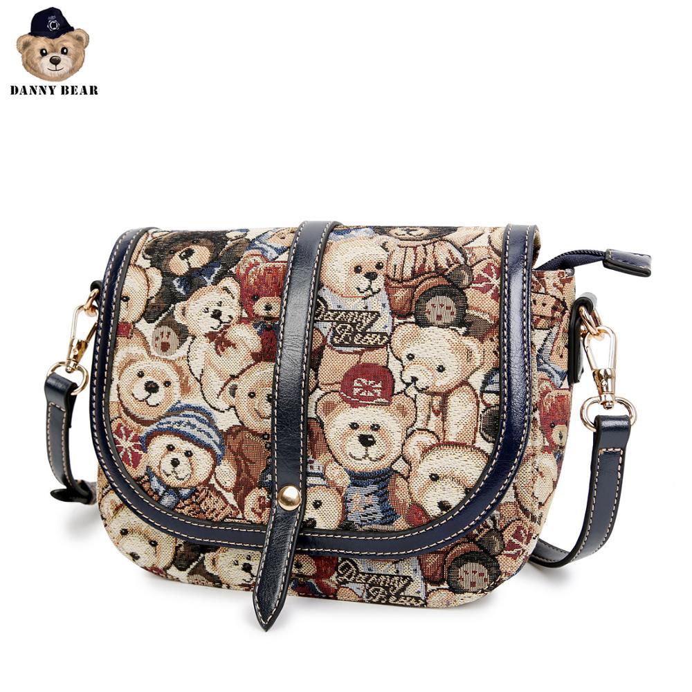 Danny Bear Fashion Women Bag Vintage Shoulder Bag Bear Print Streetbag Female Handbag DBWB8115078-003
