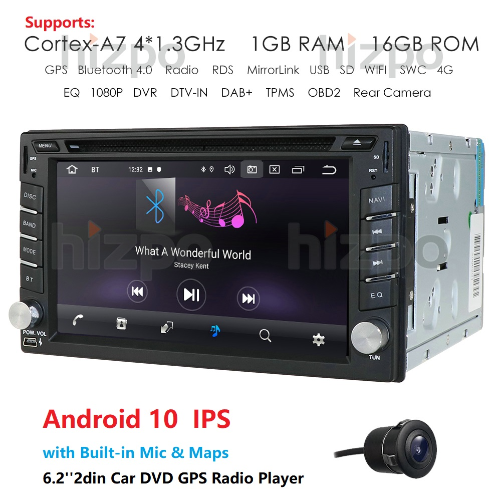 QuadCore Android 10.0 Double 2Din Car Stereo DVD CD Radio Player GPS Bluetooth Car Multimedia Player Autoradio Automotivo Camera