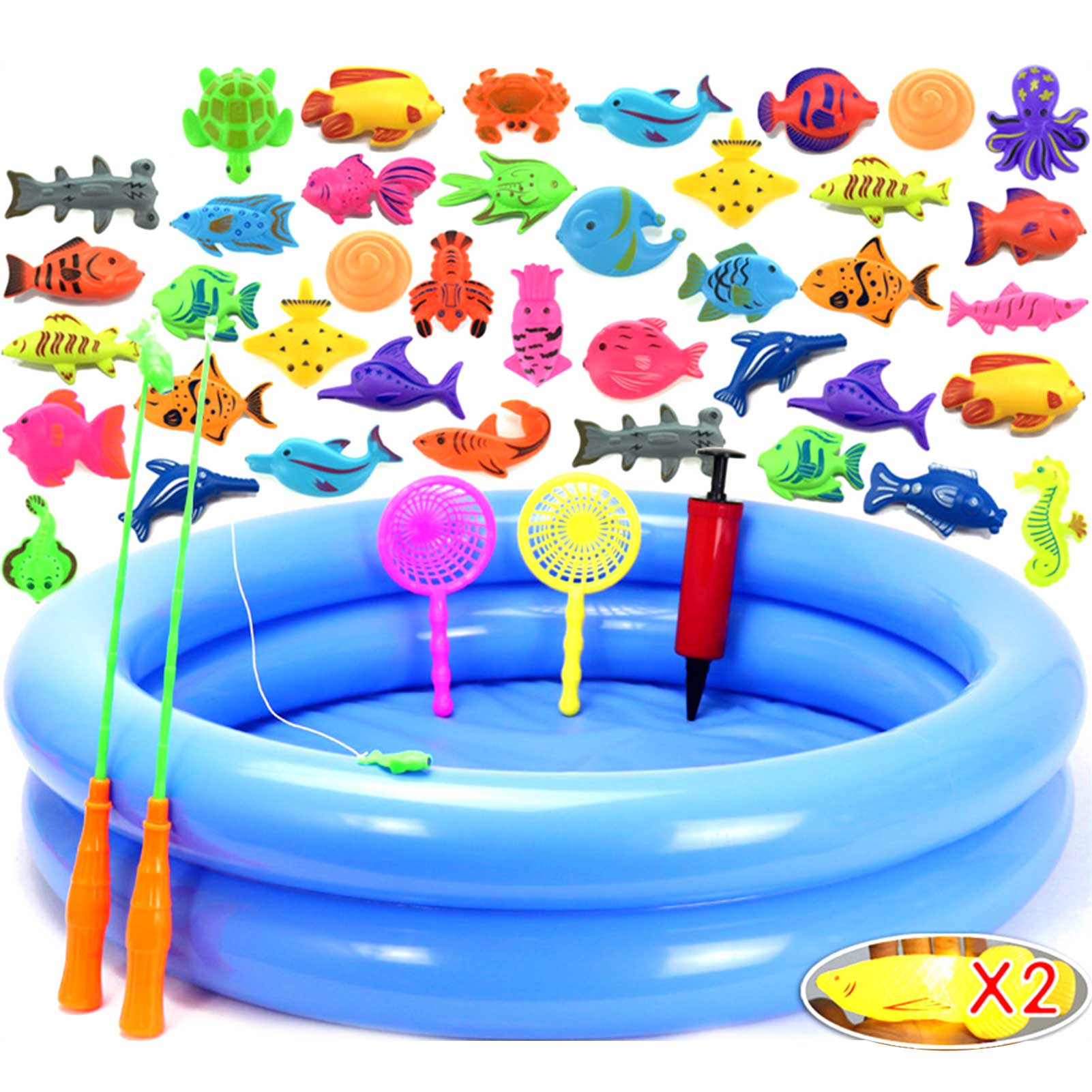 Children Round Pool Magnetic Fishing Toy Set Parent-child Interactive Toys Game Outdoor Water Toys Kids Fish Play Water Bath Toy