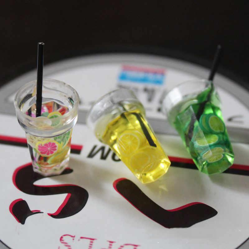 1/12 casa de bonecas em miniatura comida mini resina frutas garrafa simulação bebidas modelo brinquedos frutas bebida jogar dollhouse bonecas acessórios