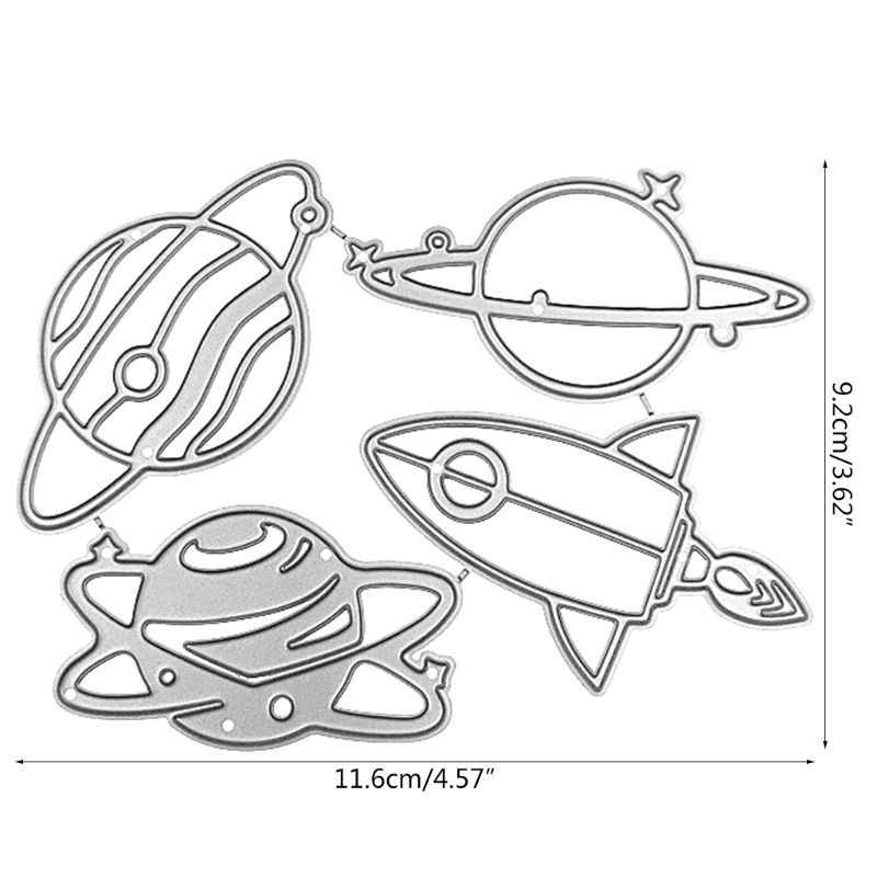 Planet Roket Metal Cutting Dies Stensil Diy Scrapbooking Album Cap Kertas Kartu 72XF