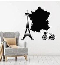 Aplique de pared de vinilo Francia torre de París Francia mapa bicicleta viaje pegatina sala de estar dormitorio art deco 2DT15