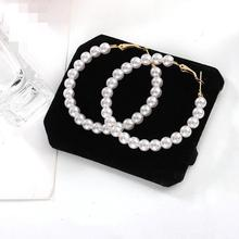 Hot Korean Fashion Trend New Earrings Sina Temperament Wild Pearls Exaggerated Big Circle Women Wholesale Sales