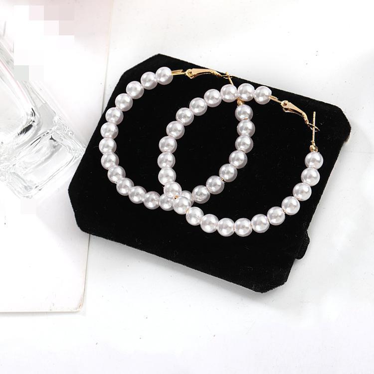 Hot Korean Fashion Trend New Earrings Sina Temperament Wild Pearls Exaggerated Big Circle Women Wholesale Earrings Sales