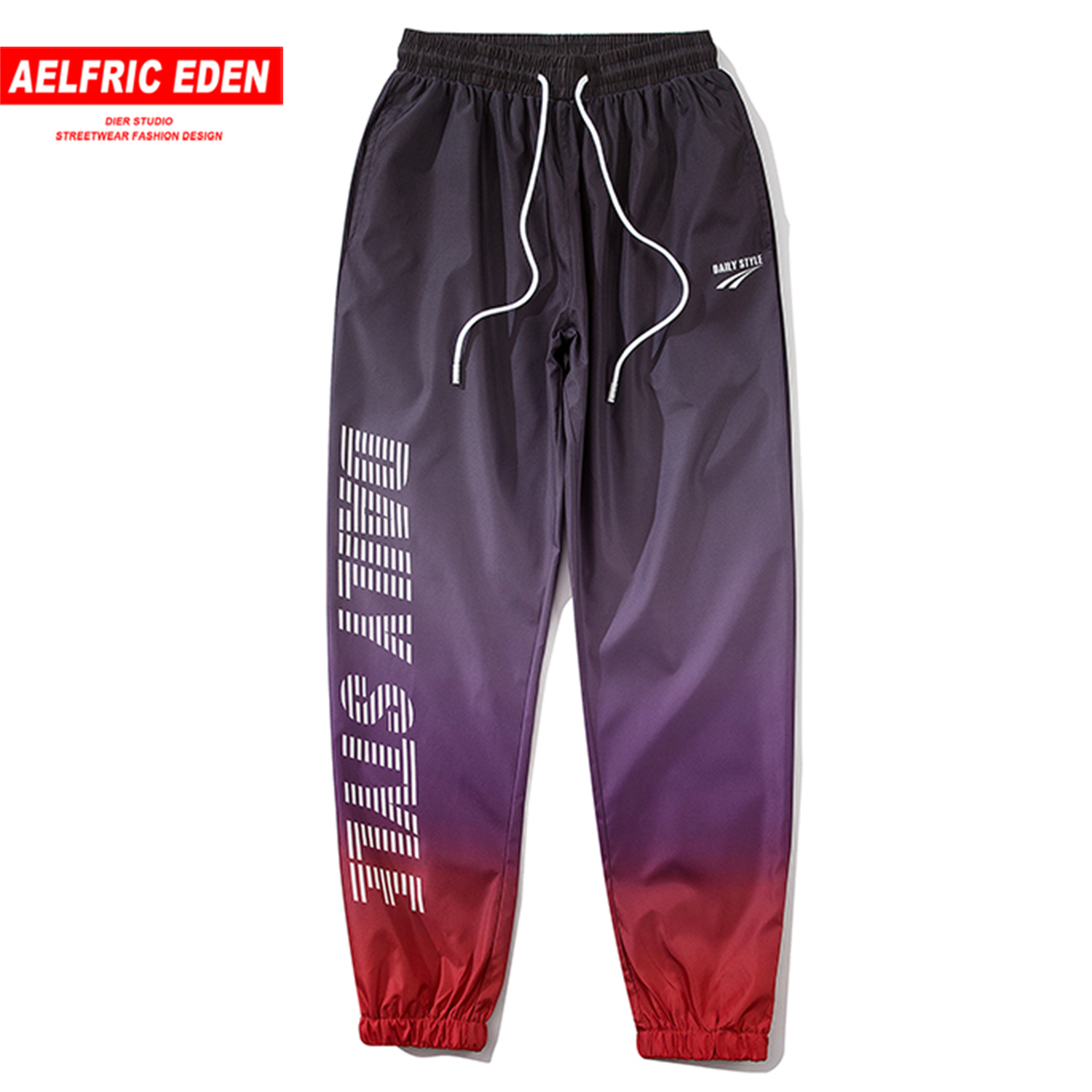 Aelfric Eden Hip Hop Sweatpants Letter Printed Gradient Pants 2020 Fashion Streetwear Harajuku Casual Joggers Men Trousers Black
