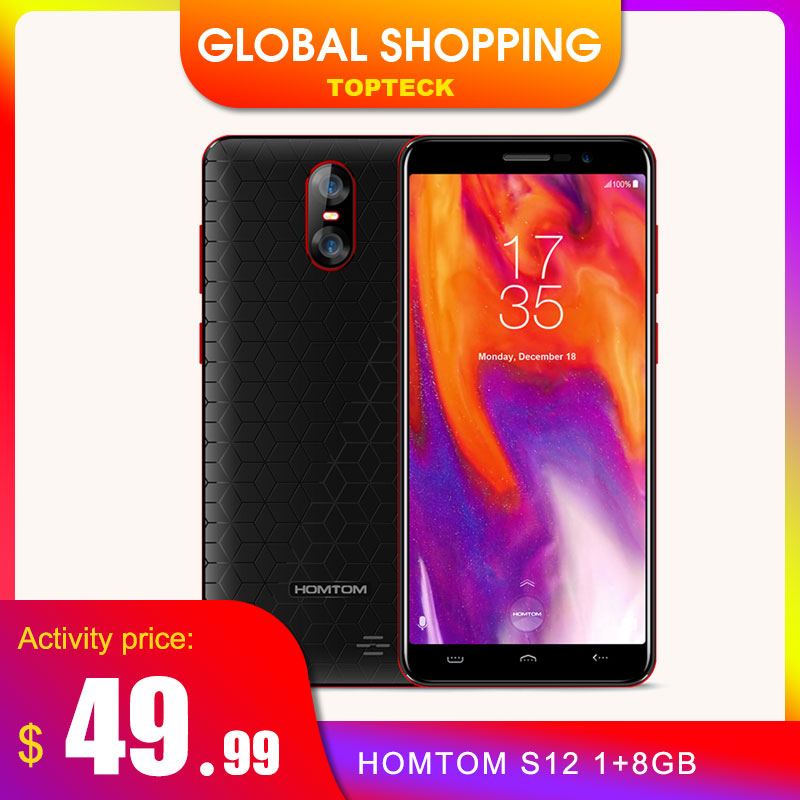HOMTOM S12 Full Screen Mobile Phone 1GB + 8GB 5.0 inch Android 6.0 Quad Core 8MP 2MP Back Dual Camera 3G WCDMA Smartphone|Cellphones| - AliExpress