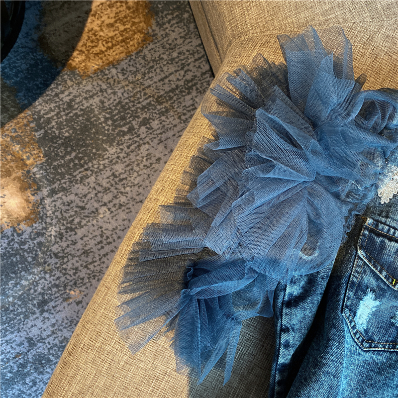 Denim Jean Blouse Women Spring and Summer New Mesh Sleeve Short Sleeve Denim Shirt Female Ladies Tops Blusas Mujer 2020