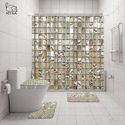 Nyaa 4 Stuks Mozaïek Decoratie Douchegordijn Voetstuk Tapijt Deksel Wc Cover Mat Badmat Set Voor Badkamer Decor