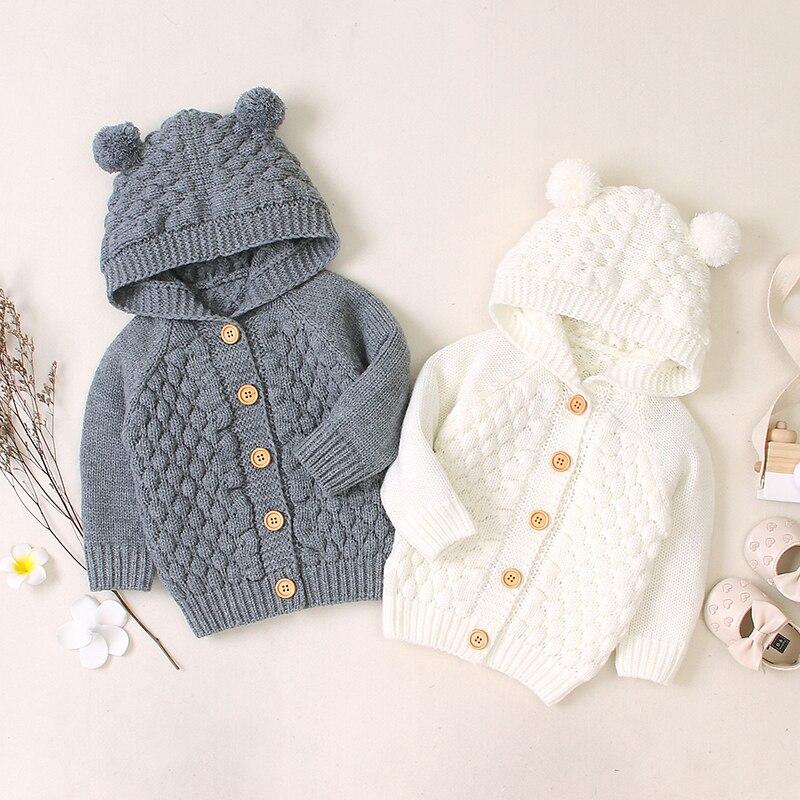 primavera outono bebe infantil meninos meninas acrilico botao do projeto longa camisola de manga comprida cor